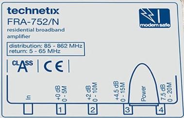 Technetix FRA752N Opdruk
